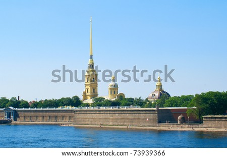 Peter and Paul Fortress at summer day. St. Petersburg, Russia