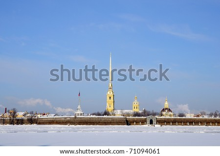 Peter and Paul Fortress. Attractions in St. Petersburg. Winter, Russia