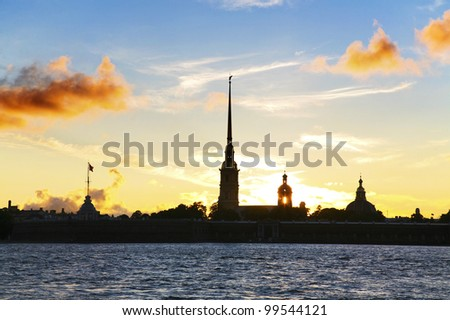 Peter and Paul Fortress in St.Petersburg on period of White Nights (sunset)