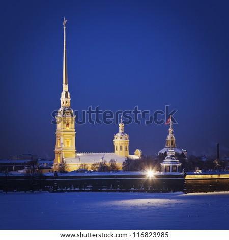 Peter and Paul Fortress. Neva river. Saint-Petersburg. Russia - stock photo