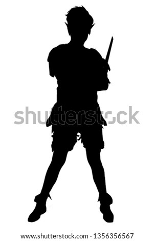 Peter pan silhouette with his knife