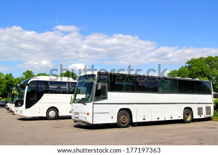 PETERGOF, RUSSIA - MAY 27, 2013: White Smit Orion and MAN R08 Lion\'s Top Coach interurban coaches at the bus station.
