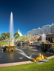 PETERHOF, RUSSIA,  Grand cascade in Pertergof, St-Petersburg. the largest fountain ensembles  comprising more than 60 water fountains. Wide angle lens and long exposition.