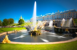 PETERHOF, RUSSIA,  Grand cascade in Pertergof, St-Petersburg. the largest fountain ensembles in the world, comprising more than 60 water fountains. Wide angle lens and long exposition.