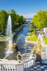 PETERHOF, RUSSIA,  Grand cascade in Pertergof, St-Petersburg. the largest fountain ensembles in the world, . View on the Baltic sea.