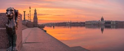 Petersburg. Dawn on Vasilievsky Island. Embankment of St. Petersburg. Sphinx. Neva River. Russia. Panorama of Petersburg.