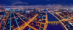 Petersburg map. Map from a height. Night city from a bird's-eye view. Night Petersburg. Russia. St. Petersburg panorama.