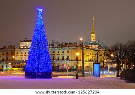 PETERSBURG, RUS-JANUARY 5:Christmas tree with illumination near Mikhailovsky Castle on Jan 5, 2013 in Petersb, Rus. 66 christmas trees were placed at Christmas on  main squares and streets of the city