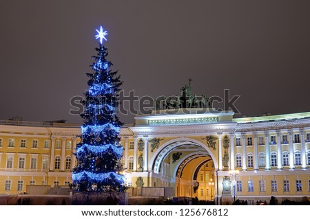 PETERSBURG, RUSSIA-JANUARY 5:Christmas tree with illumination at Palace Square on January 5, 2013 in Petersb, Rus. 66 christmas trees were placed at Christmas on  main squares and streets of the city