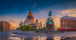 Petersburg. Saint Isaac's Cathedral. St. Isaac's Square. Russia. Panorama. Center of Petersburg.