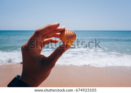Petite small female hand tenderly holds little exotic seashell on background of blue crystal clear ocean sea water with waves coming to the shore #674923105