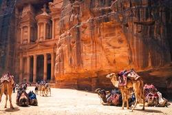 Petra Al Khazneh, aka the Treasury, with Camels in Petra, Jordan