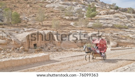 PETRA, JORDAN - NOV 24:  Unidentified Bedouin carriage driver on November 24, 2010 on the ancient cobbled road to ancient Petra, Jordan.  Petra is a UNESCO World Heritage Site since 1985.