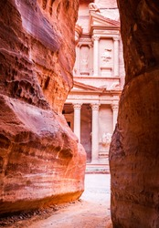 Petra, Jordan - Siq and the Treasury, Al Khazneh ancient Petra one of the new Seven Wonders of the World.