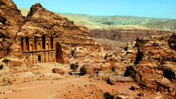 Petra, Jordan 19 04 2014: View from above at Ad Deir Monastery stone wonder in Petra Jorden