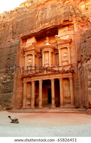 Petra, Lost rock city of Jordan. Petra's temples, tombs, theaters and other buildings are scattered over 400 square miles. UNESCO world heritage site and one of The New 7 Wonders of the World.