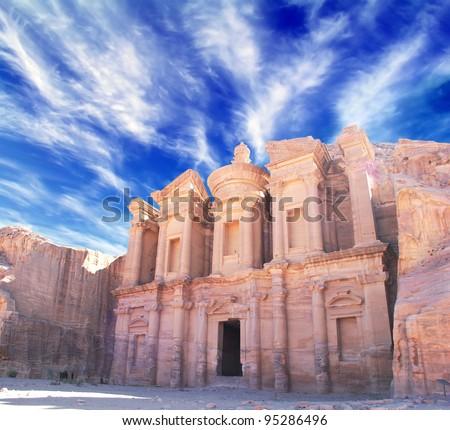 Petra - Nabataeans capital city (Al Khazneh) , Jordan. Monastery tomb. Roman Empire period.