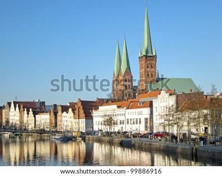 Petrikirche and Marienkirche in L�¼beck, Germany