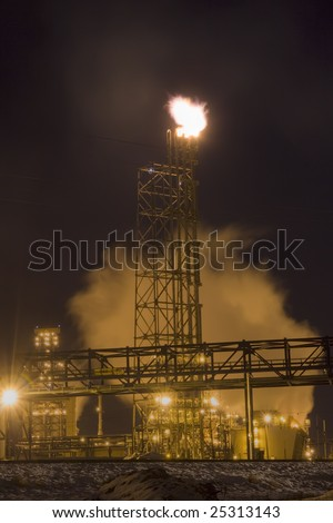 Petro Chemical Refinery Flare at Night