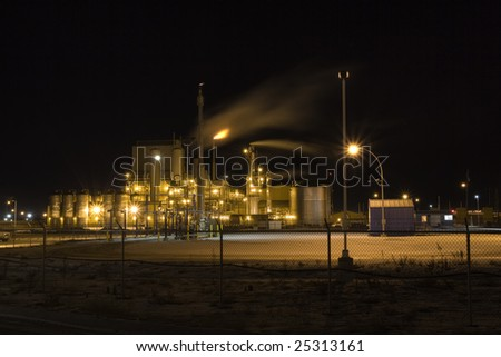 Petro Chemical Refinery Secure at Night