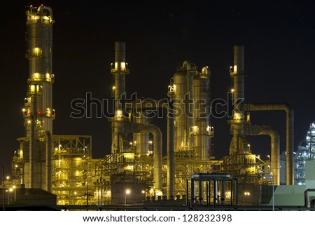 Petrochemical plant at night in Thailand