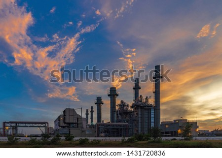Petrochemical plant at Twilight In the industrial area Eastern Thailand. #1431720836