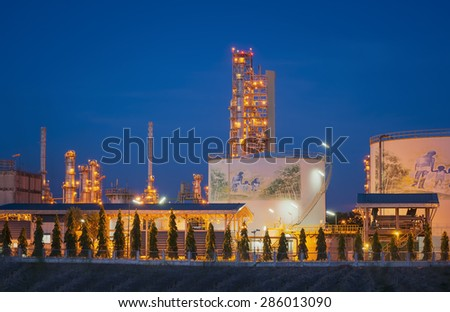 Petrochemical plant, Oil and gas refinery at night sky.Petrochemical industrial plant/Estate industry of fossil petroleum/Industrial zone,The equipment of oil refining,Close-up of industrial pipelines stock photo