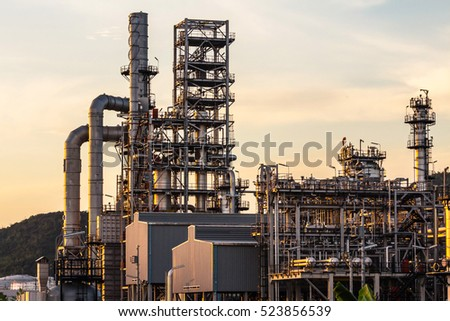 Petrochemical plant, oil refinery factory with Twilight