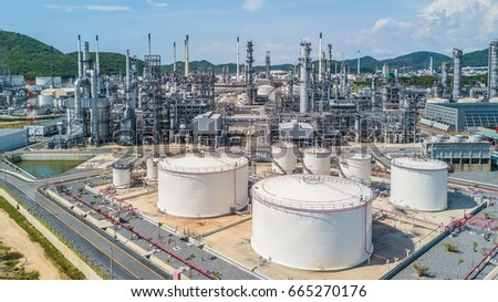 Petrochemical plant on blue sky background, Oil refinery plant stock photo