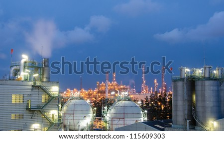 Petrochemical plant,spheres tank at  twilight time
