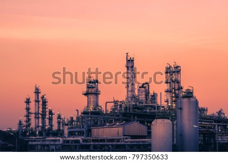 Petrochemical plant with sunset sky background, Oil and gas refinery plant, Manufacturing of petroleum industry #797350633