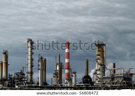 Petrochemical processing facility in Edmonton Alberta, Canada.  This refinery site has been in use since the 1940's.  Light and background for this photo are natural and unaltered