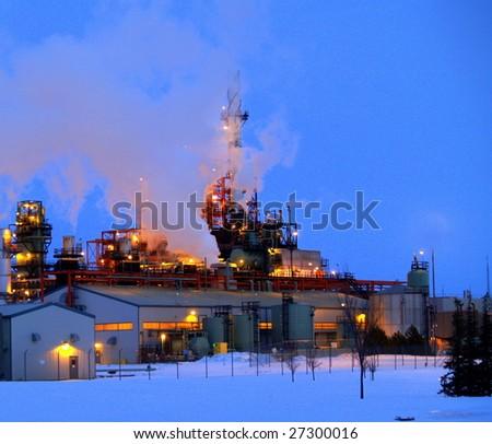 Petrochemical refinery at dusk in late winter (Edmonton, Alberta)