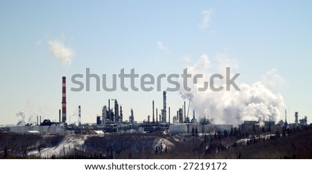 Petrochemical refinery perched on the edge of the North Saskatchewan River valley