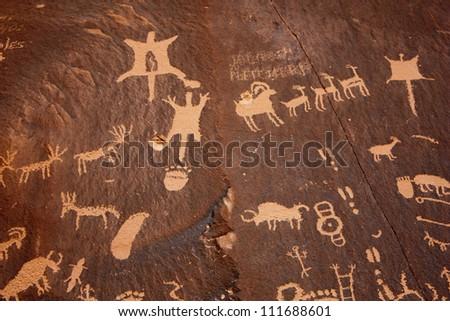 Petroglyphs at Newspaper Rock State Historic Monument, Utah
