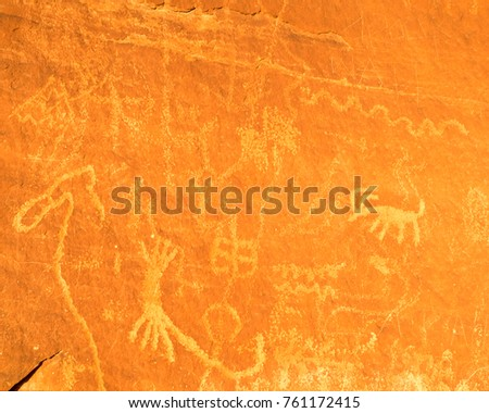 Petroglyphs Etched on Atlatl Rock in Valley of Fire State Park in Nevada #761172415
