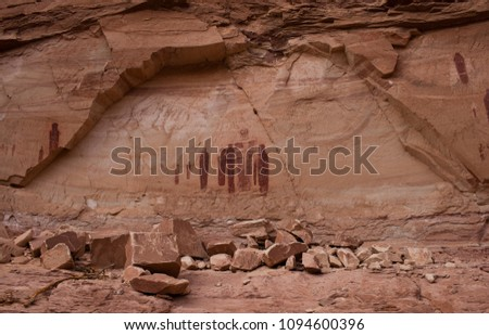 Petroglyphs in the horseshoe island unit in canyon lands national park in Utah