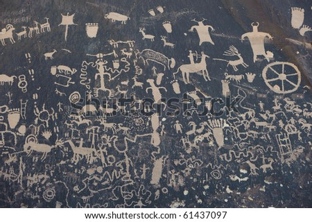 Petroglyphs on newspaper rock in Canyonlands national park, Utah, USA