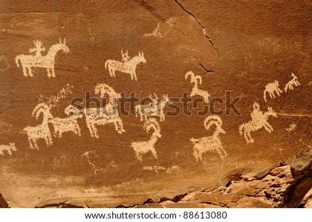 Petroglyphs (rock art) at the Wolfe Ranch in Arches National Park, Utah