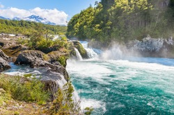 Petrohue Rapids (Saltos del Petrohue), an important touristic attraction in southern Chile