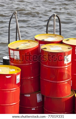 Petrol Barrel on the water