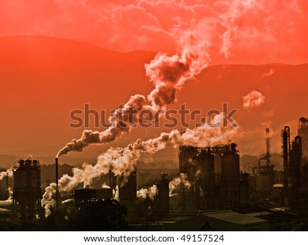 Petrol chemical factory in San Roque, andalusia, spain - stock photo