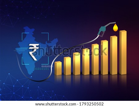 petrol diesel price hike in India, fuel price hike in India, fuel price continuously rising, Indian economy, price hike in India, 3D rendering, illustration abstract background with chart, Indian map