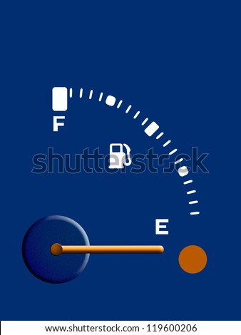 Petrol, fuel, gasoline guage - empty,background - stock photo