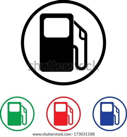 Petrol Pump Icon Illustration with Four Color Variations