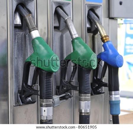 Petrol pumps diesel and unleaded petrol