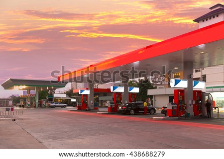 Petrol station and Gas station at sunset.