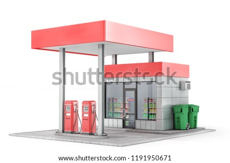 Petrol station isolated on a white background. 3d illustration