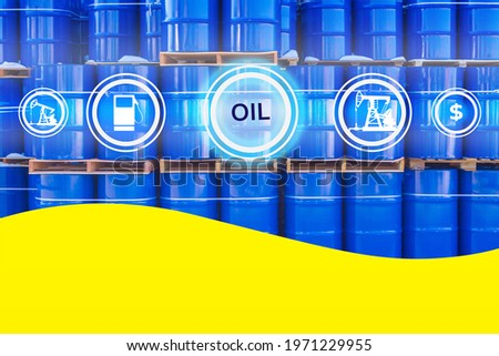 Petroleum industry illustration. Oil logo on a blue barrels background. Oil related icons represent petroleum industry. Petroleum industry business. Crude oil products trade. Hydrocarbon trading Сток-фото ©