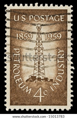 Petroleum Industry postal stamp was issued in 1959. Picturing the first oil well at Titusville, Pennsylvania.